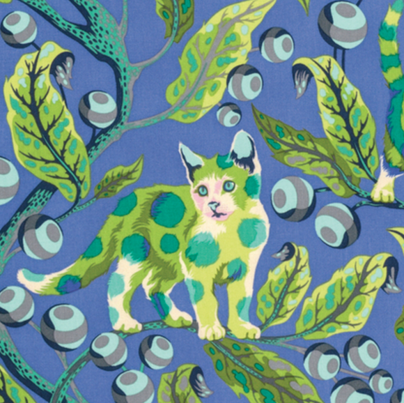 Disco Kitty in Blue Bird from Tabby Road by Tula Pink