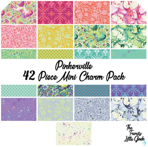 Pinkerville by Tula Pink Mini Charm Pack, 42 Pieces, 2 each of 21 prints