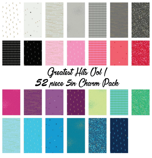Greatest Hits Vol 1 by Libs Elliott Charm Pack, 54 Pieces, 2 each of 27 prints