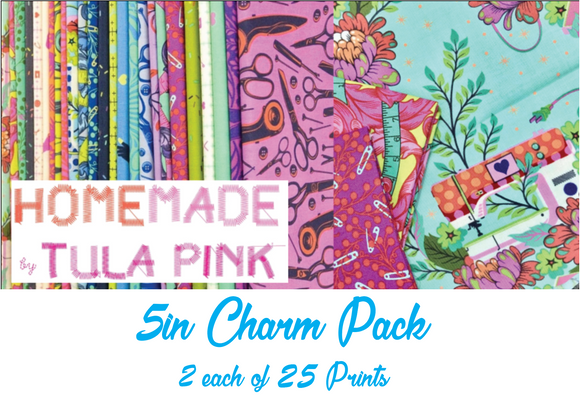 HomeMade by Tula Pink Charm Pack, 50 Pieces, 2 each of 25 prints