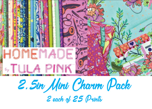 HomeMade by Tula Pink Mini Charm Pack, 50 Pieces, 2 each of 25 prints