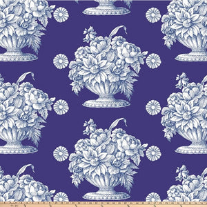 108 inch Wide Quilt Backing, Stone Flower in Royal by Kaffe Fassett for FreeSpirit Fabrics by the half yard