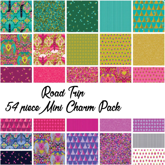 Road Trip by Alison Glass Mini Charm Pack, 54 Pieces, 2 each of 27 prints