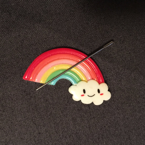 Rainbow Cloud Needle Minder, Needle Nanny, Magnetic Needle Holder for Hand Embroidery and Cross Stitch