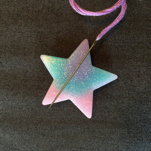 Rainbow Star Needle Minder, Needle Nanny, Magnetic Needle Holder for Hand Embroidery and Cross Stitch
