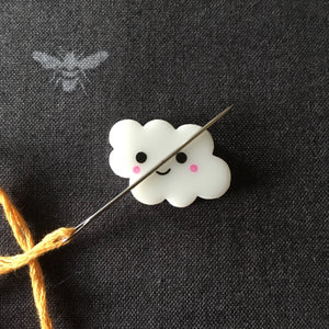 Happy Cloud Needle Minder, Needle Nanny, Magnetic Needle Holder for Hand Embroidery and Cross Stitch