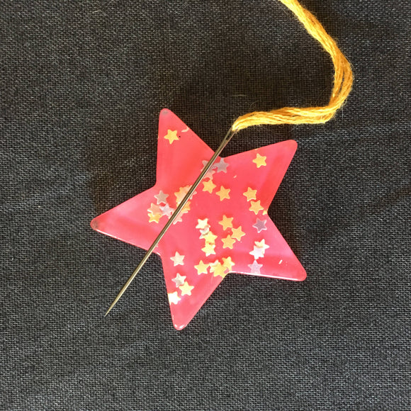 Bright Pink Star Glitter Needle Minder