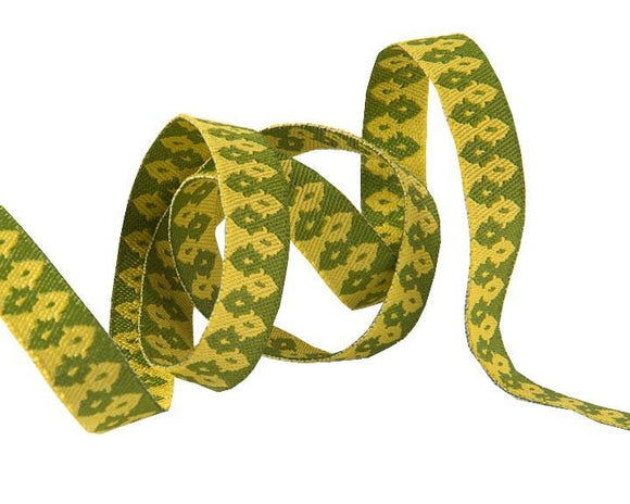 3/8in Jacquard Ribbon, Green on Gold The Wanderer from Chipper by Tula Pink for Renaissance Ribbons