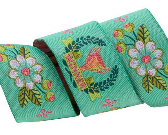 7/8in Jacquard Ribbon, Winner in Mint from Slow and Steady by Tula Pink for Renaissance Ribbons