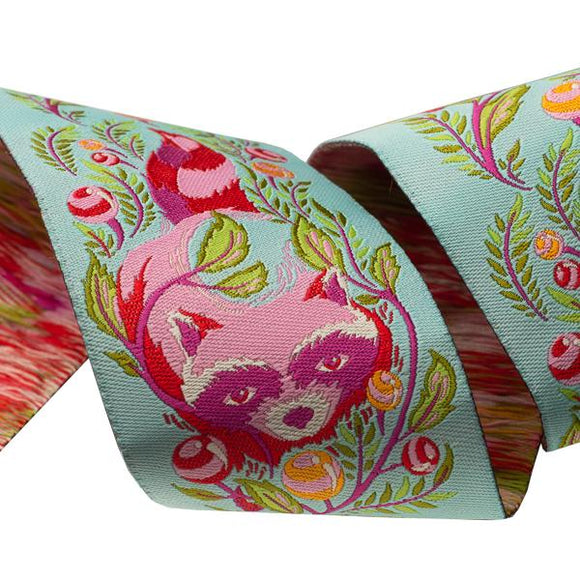 2in Jacquard Ribbon, Raccoon in Poppy from All Stars by Tula Pink for Renaissance Ribbons