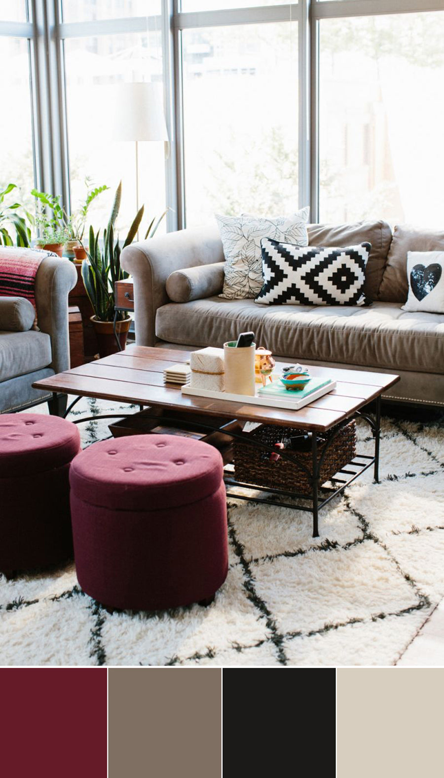 These Burgundy Ottomans Create A Beautiful Pop Of Color In An Otherwise Neutral Room Light Carpet And Pattern Pillows Help The Feel Open