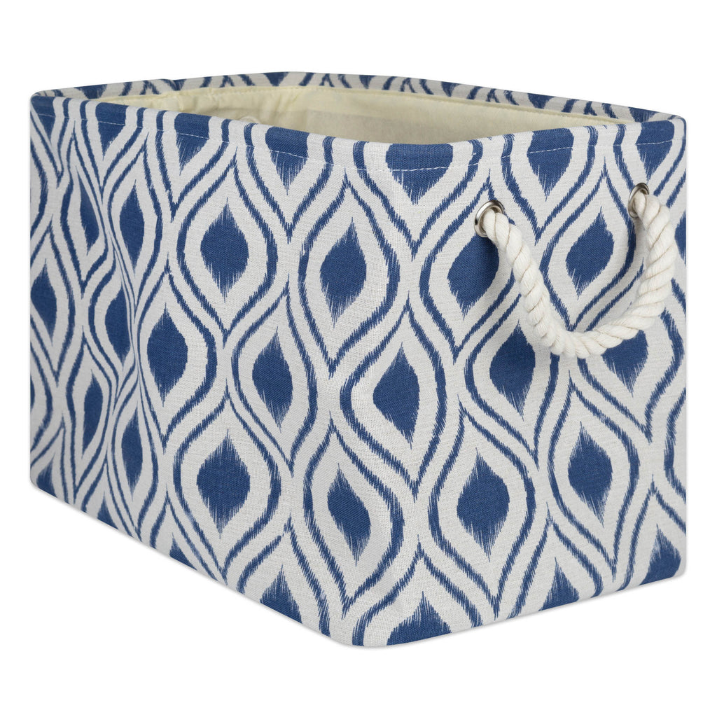 Polyester Bin Ikat French Blue Rectangle Medium 16x10x12