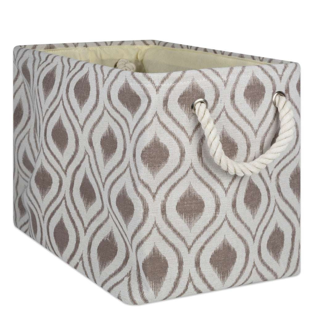 Polyester Bin Ikat Stone Rectangle Medium 16x10x12