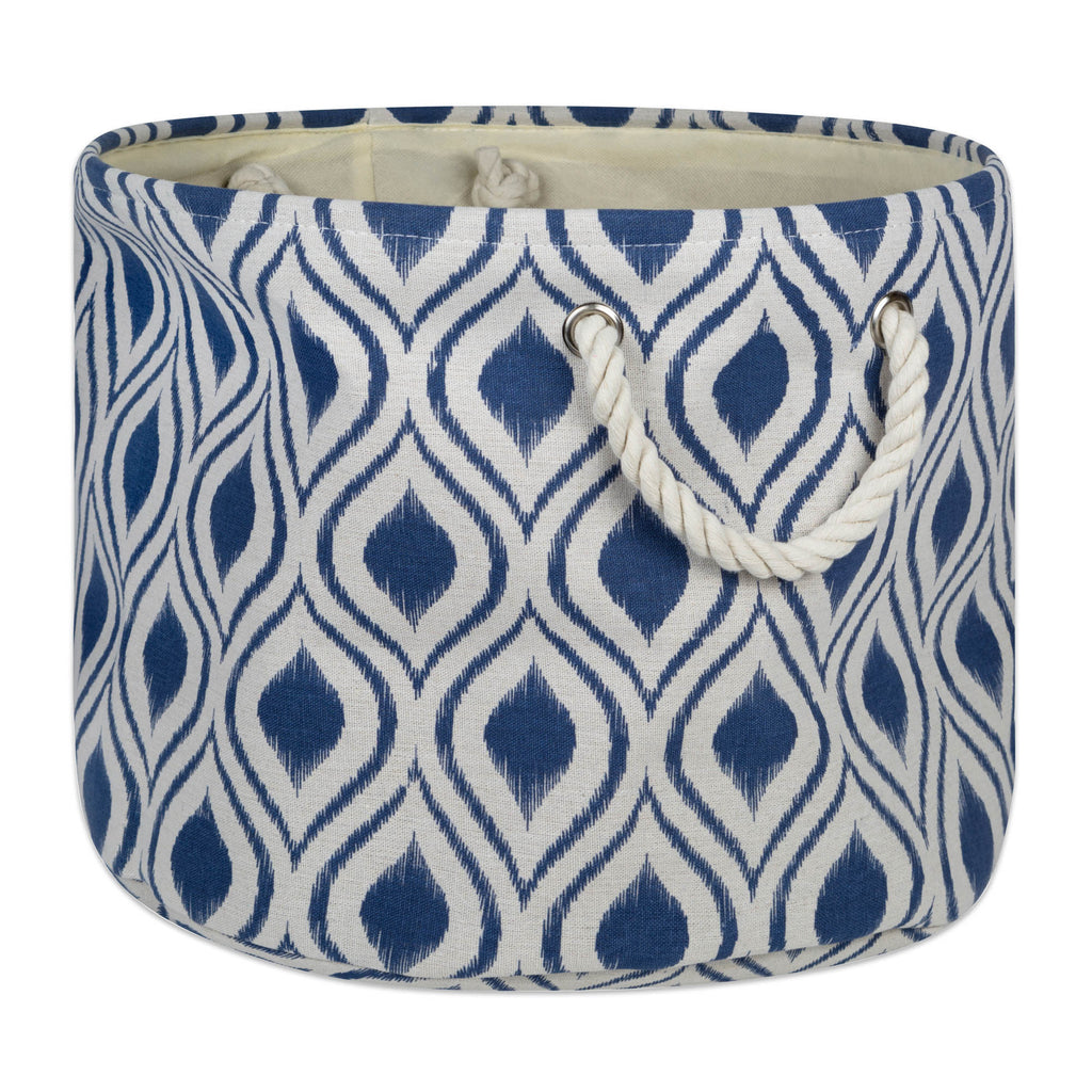 Polyester Bin Ikat French Blue Round Medium 12x15x15