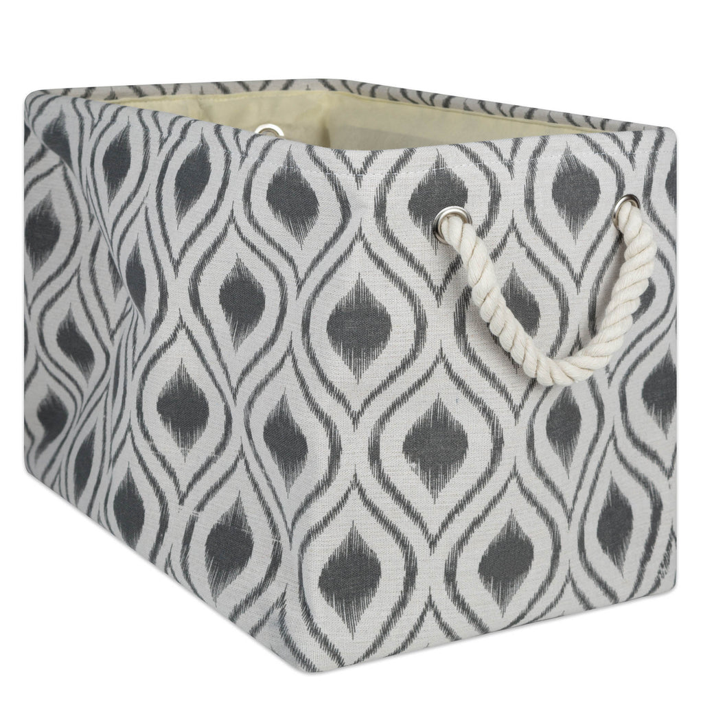Polyester Bin Ikat Mineral Rectangle Large 17.5x12x15