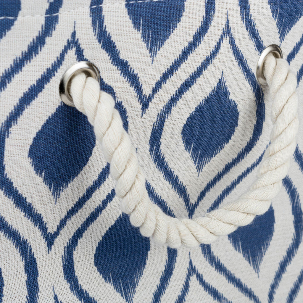 DII Polyester Bin Ikat French Blue Rectangle Large