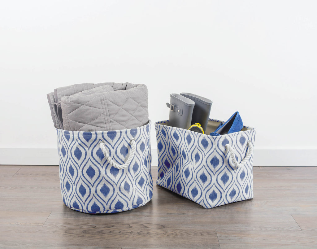 DII Polyester Bin Ikat French Blue Round Large