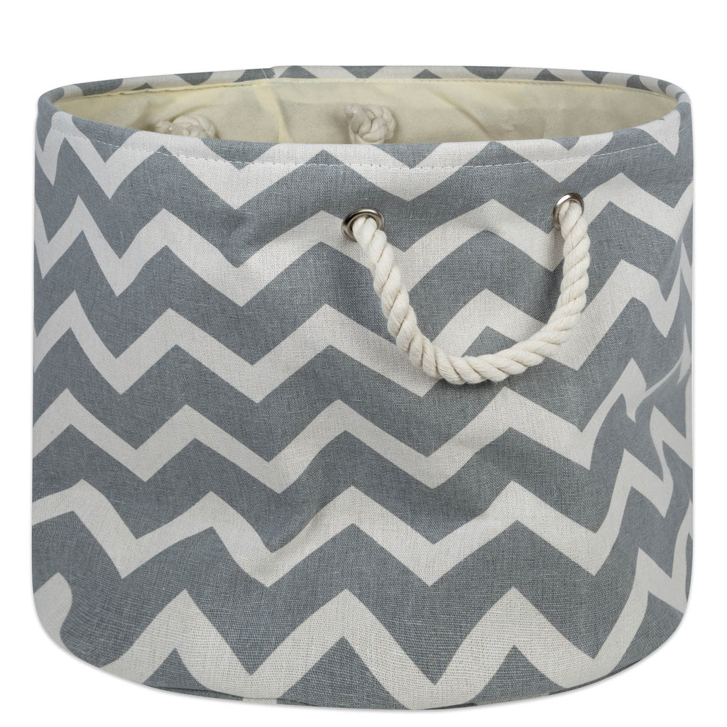 Polyester Bin Chevron Gray Round Medium 12x15x15