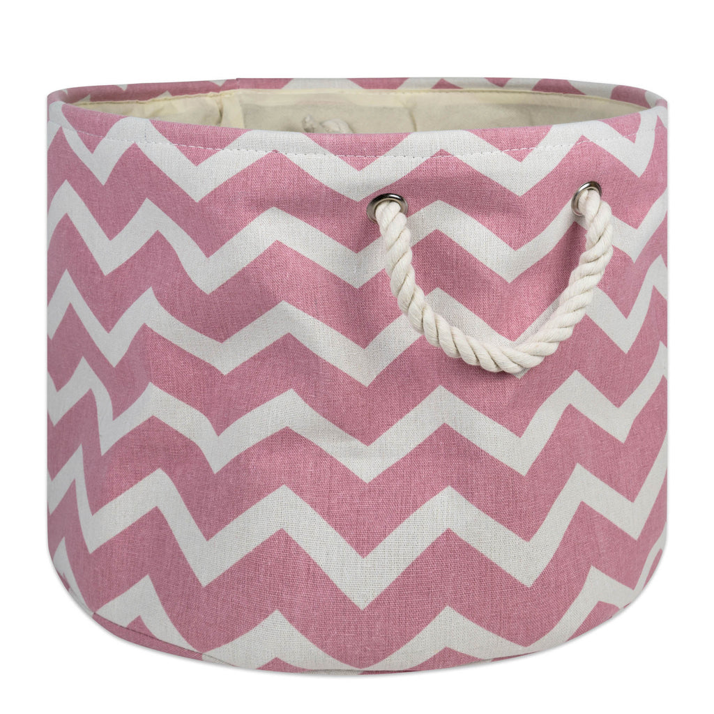 Polyester Bin Chevron Rose Round Medium 12x15x15