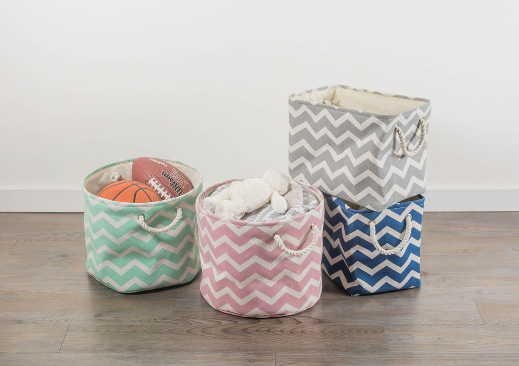 DII Polyester Bin Chevron Rose Round Medium