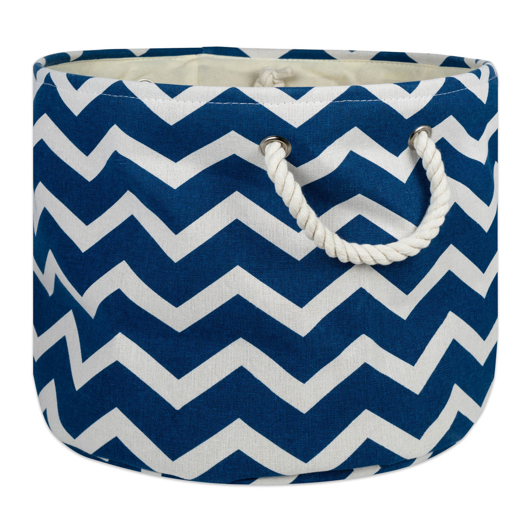 Polyester Bin Chevron Navy Round Medium 12x15x15