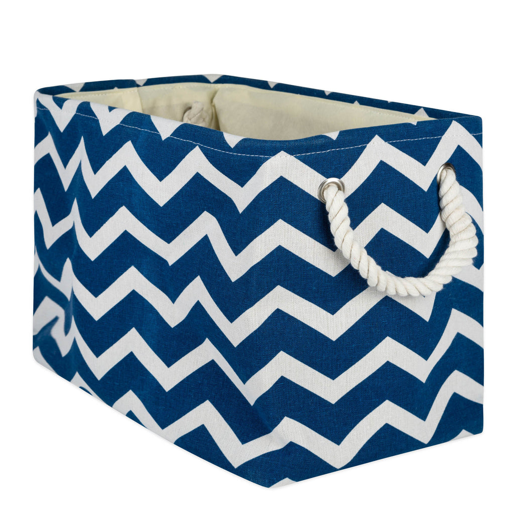 Polyester Bin Chevron Navy Rectangle Medium 16x10x12