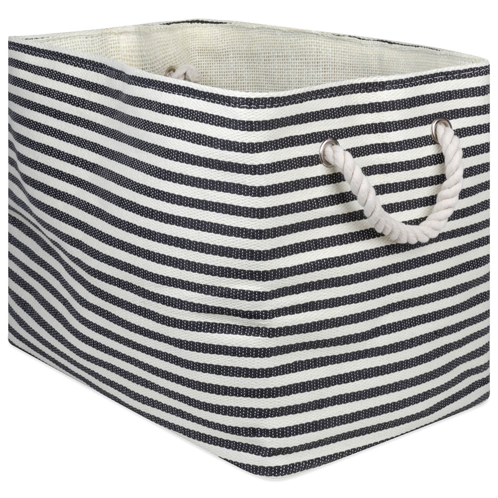 Paper Bin Pinstripe Black Rectangle Medium 15x10x12