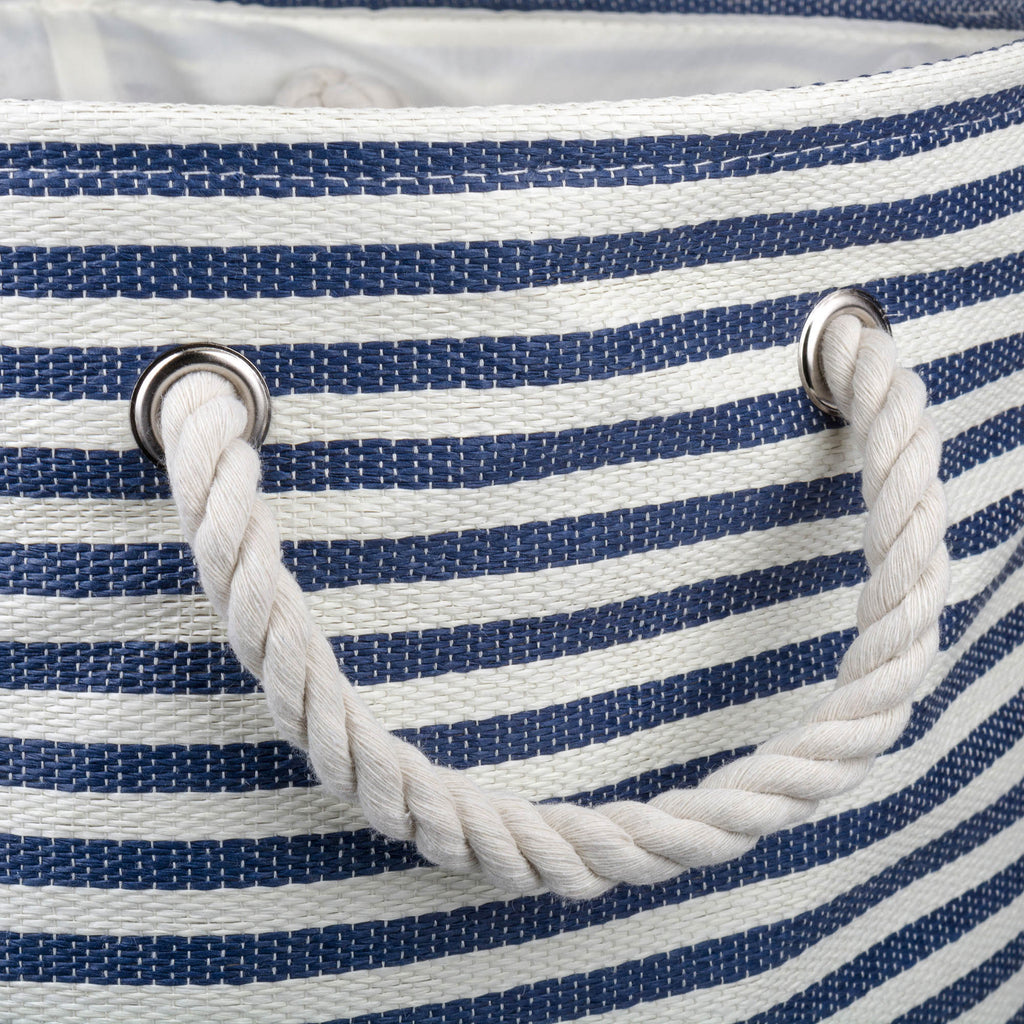 DII Paper Bin Pinstripe Nautical Blue Rectangle Medium