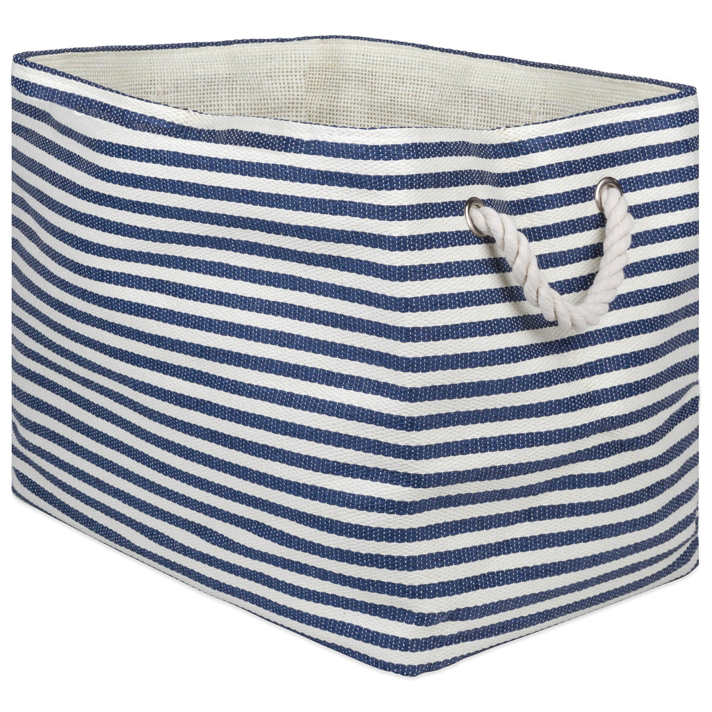 Paper Bin Pinstripe Nautical Blue Rectangle Medium 15x10x12