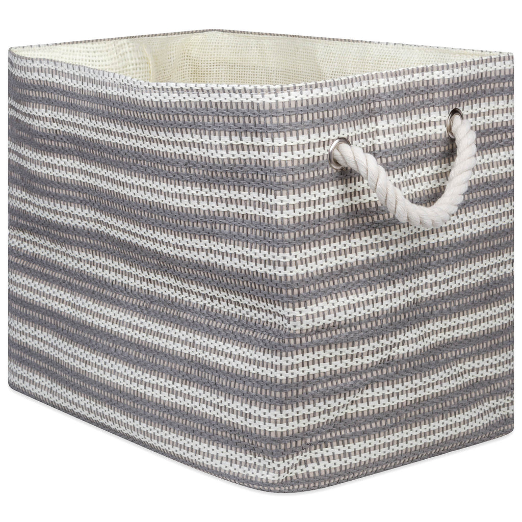 Paper Bin Basketweave Gray/White Rectangle Large 17x12x12