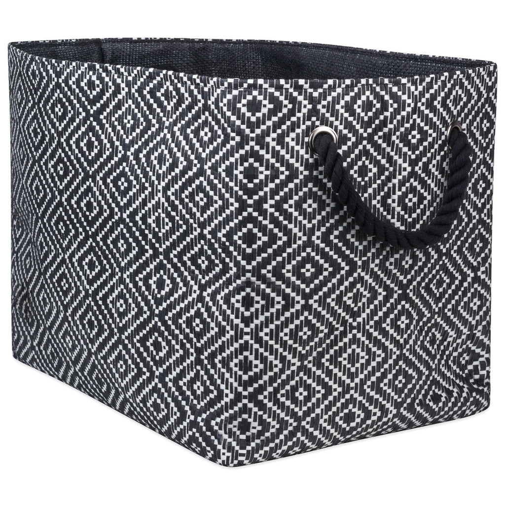 Paper Bin Diamond Basketweave Black/White Rectangle Medium 15x10x12