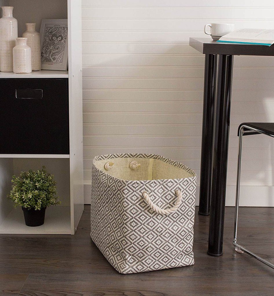 DII Paper Bin Diamond Basketweave Gray/White Rectangle Medium