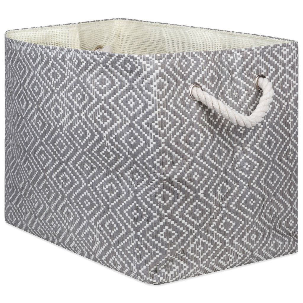 Paper Bin Diamond Basketweave Stone/Black Rectangle Large 17x12x12