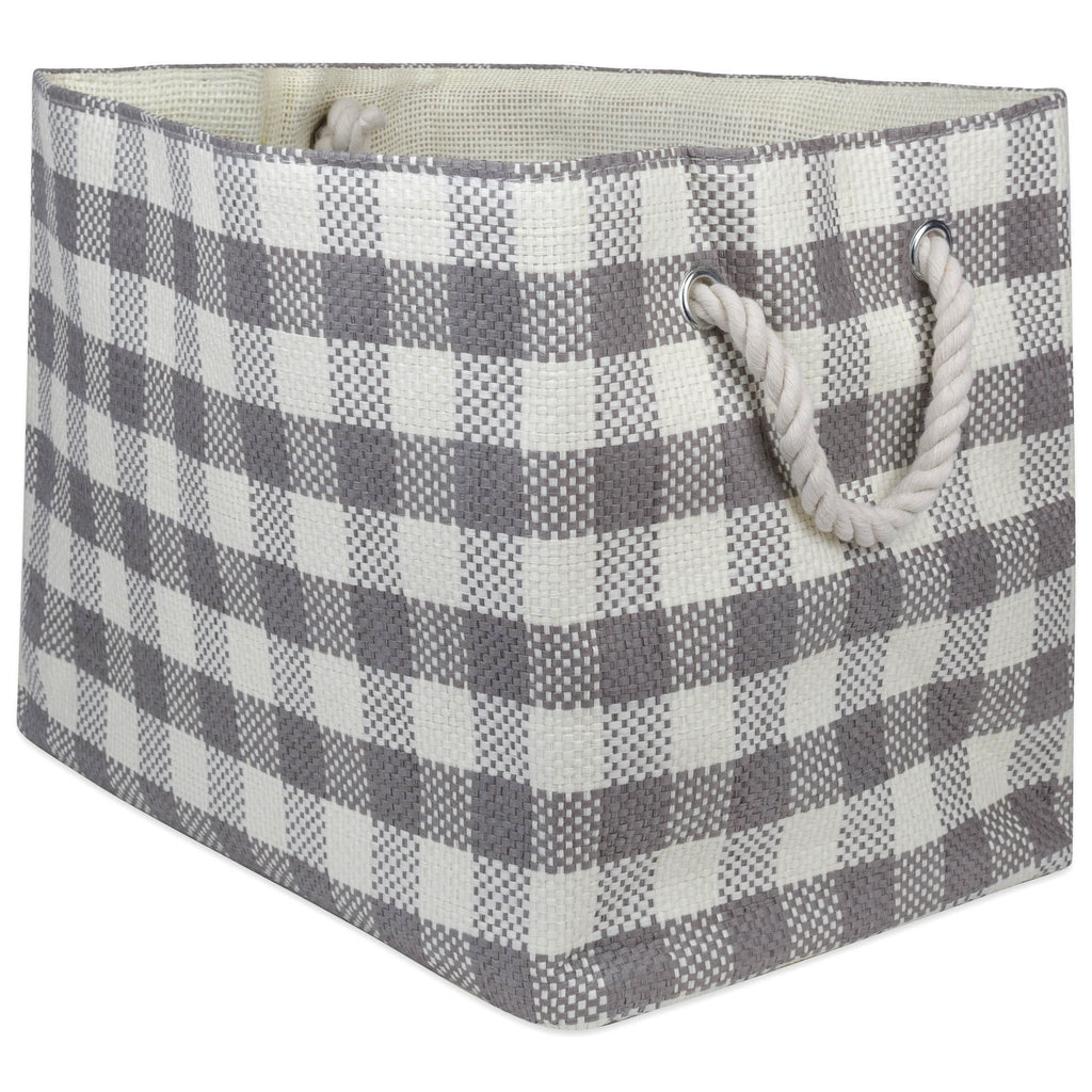 Paper Bin Checkers Gray Rectangle Large 17x12x12