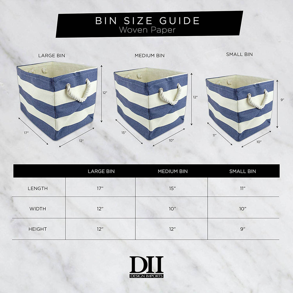 DII Paper Bin Chevron Aqua Rectangle Medium
