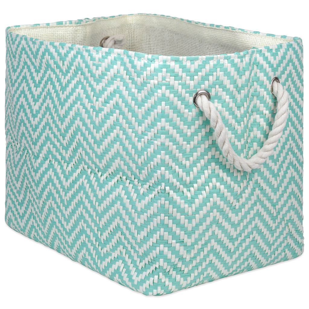 Paper Bin Chevron Aqua Rectangle Medium 15x10x12