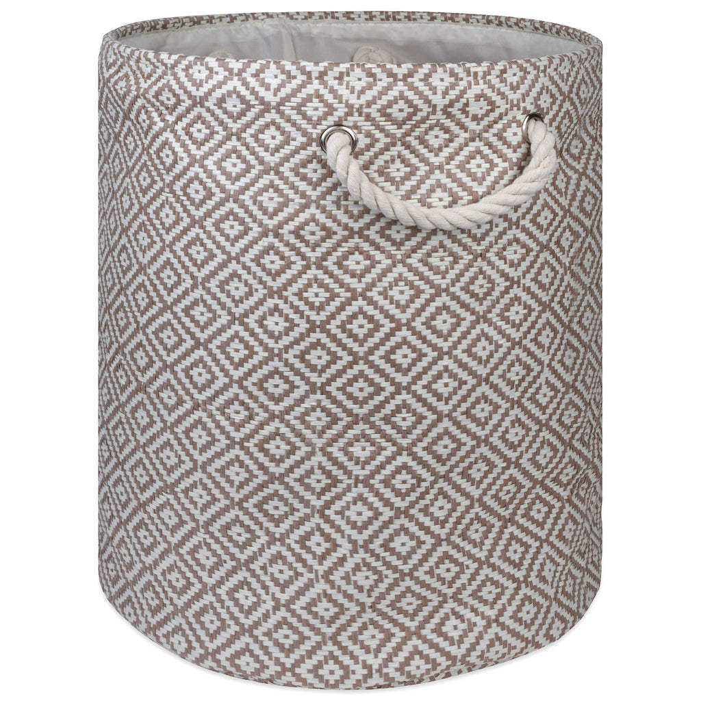 Paper Bin Geo Diamond Stone Round Medium 13.75x13.75x17