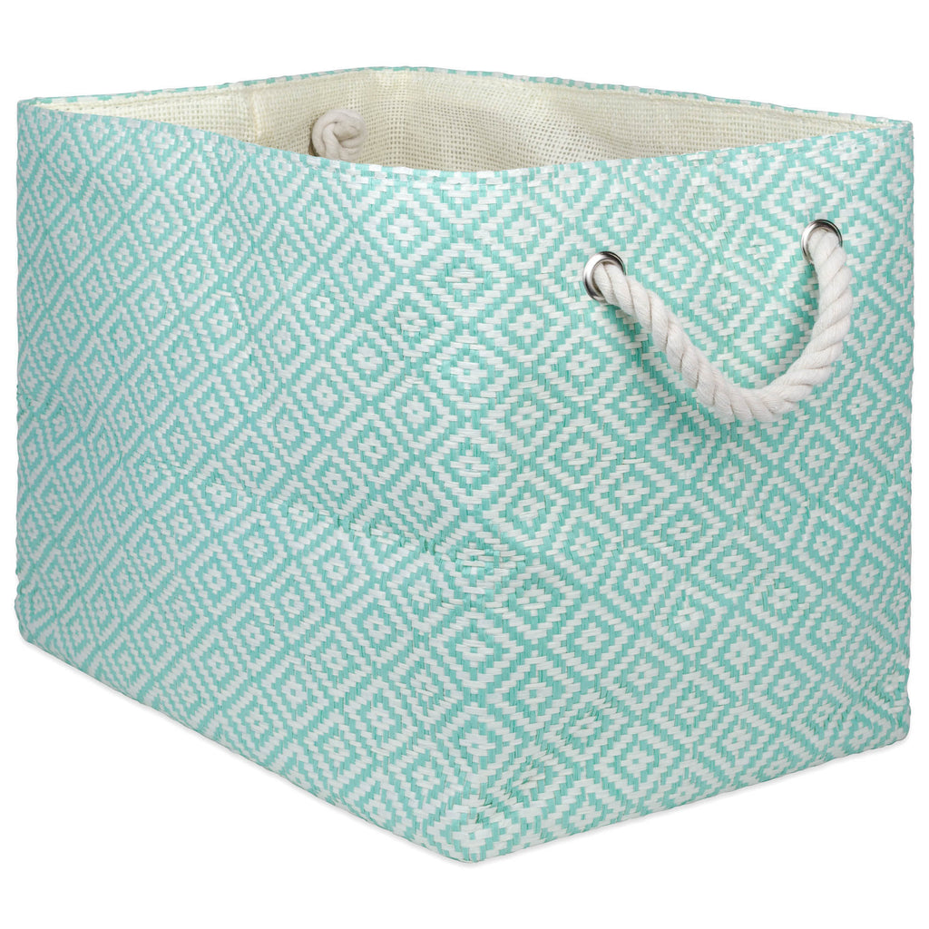 Paper Bin Geo Diamond Aqua Rectangle Large 17x12x12