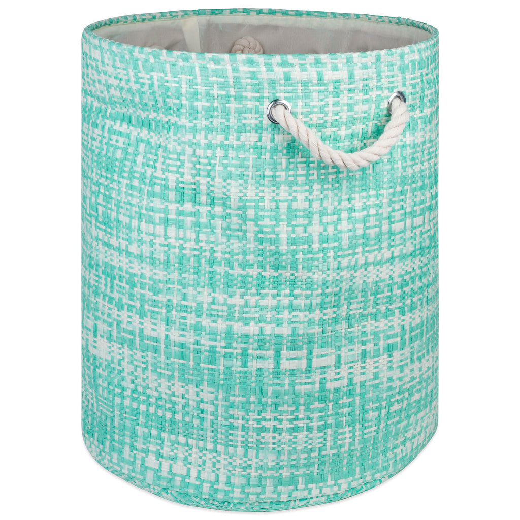 Paper Bin Tweed Aqua Round Medium 13.75x13.75x17