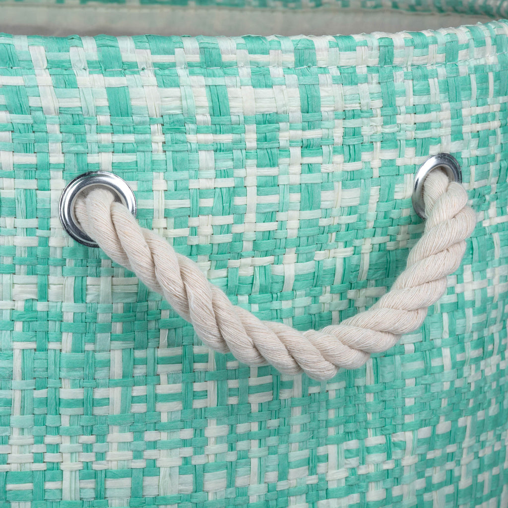 DII Paper Bin Tweed Aqua Round Medium