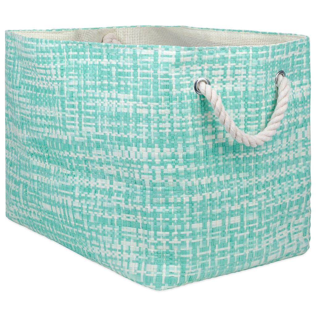 Paper Bin Tweed Aqua Rectangle Medium 15x10x12