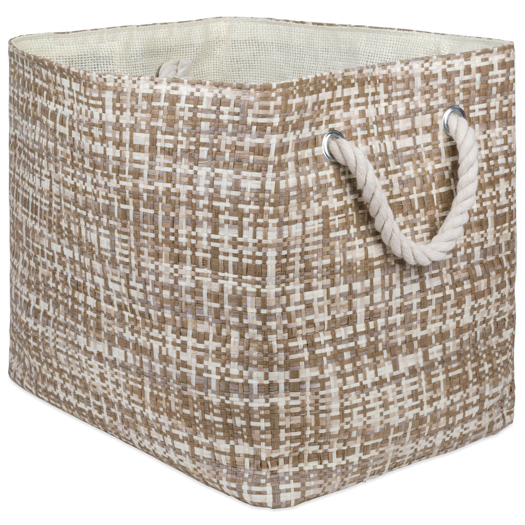 Paper Bin Tweed Stone Rectangle Large 17x12x12