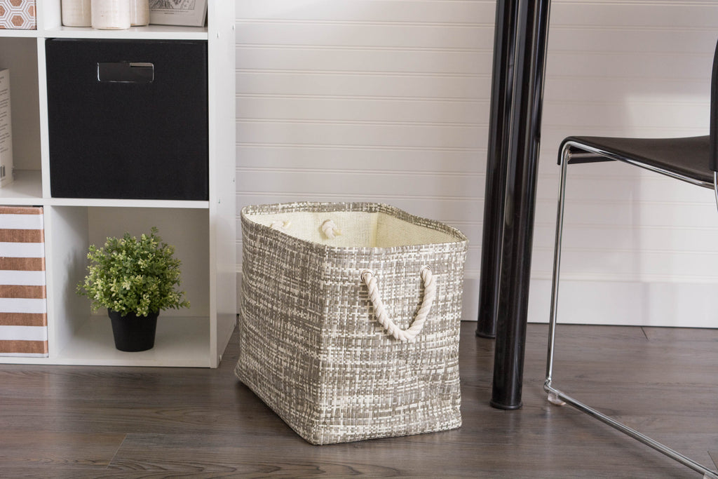 DII Paper Bin Tweed Stone Rectangle Large