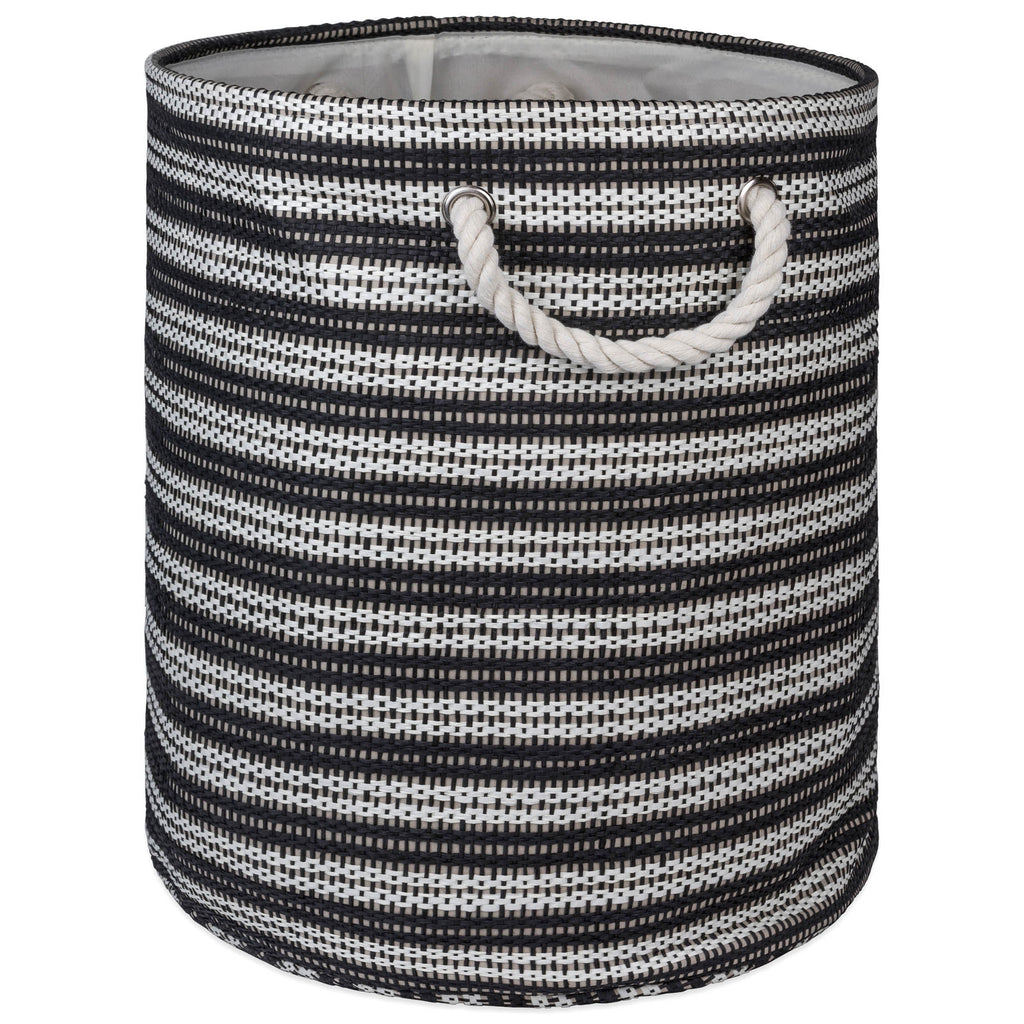 Paper Bin Basketweave Black/White Round Medium 13.75x13.75x17