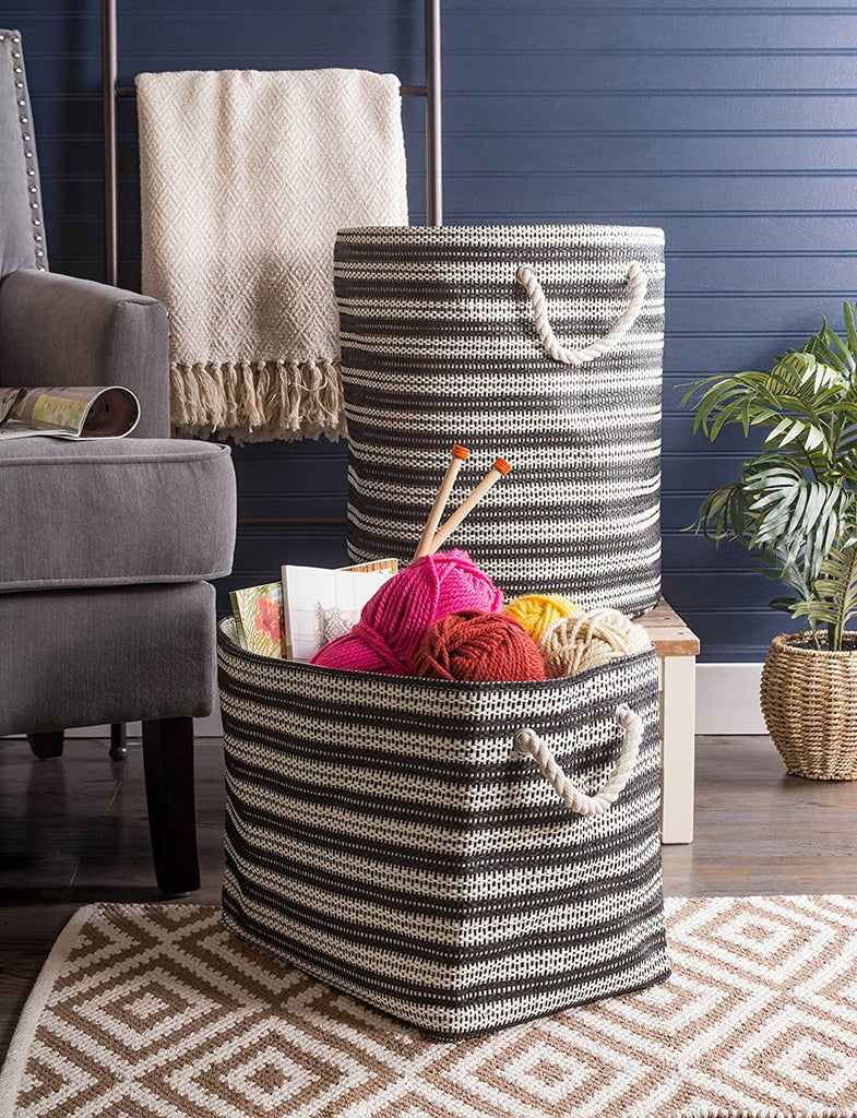 DII Paper Bin Basketweave Black/White Round Medium