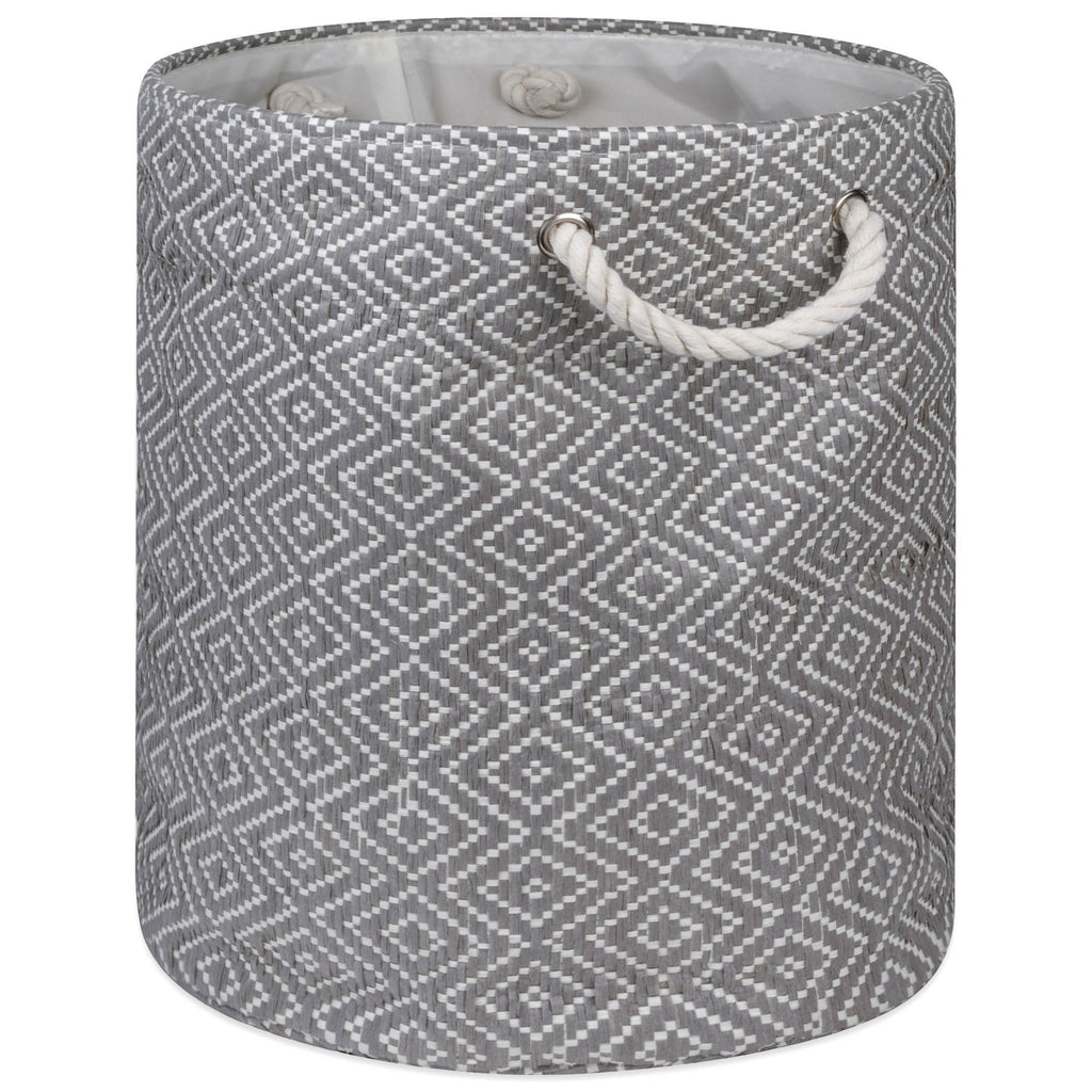 Paper Bin Diamond Basketweave Stone/Black Round Medium 13.75x13.75x17
