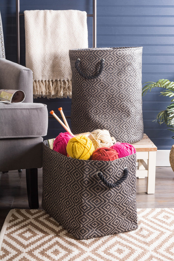 DII Paper Bin Diamond Basketweave Stone/Black Round Medium