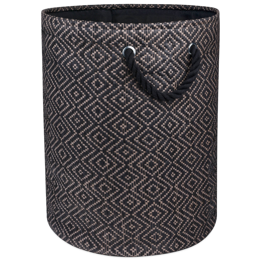 Paper Bin Diamond Basketweave Gray/White Round Medium 13.75x13.75x17