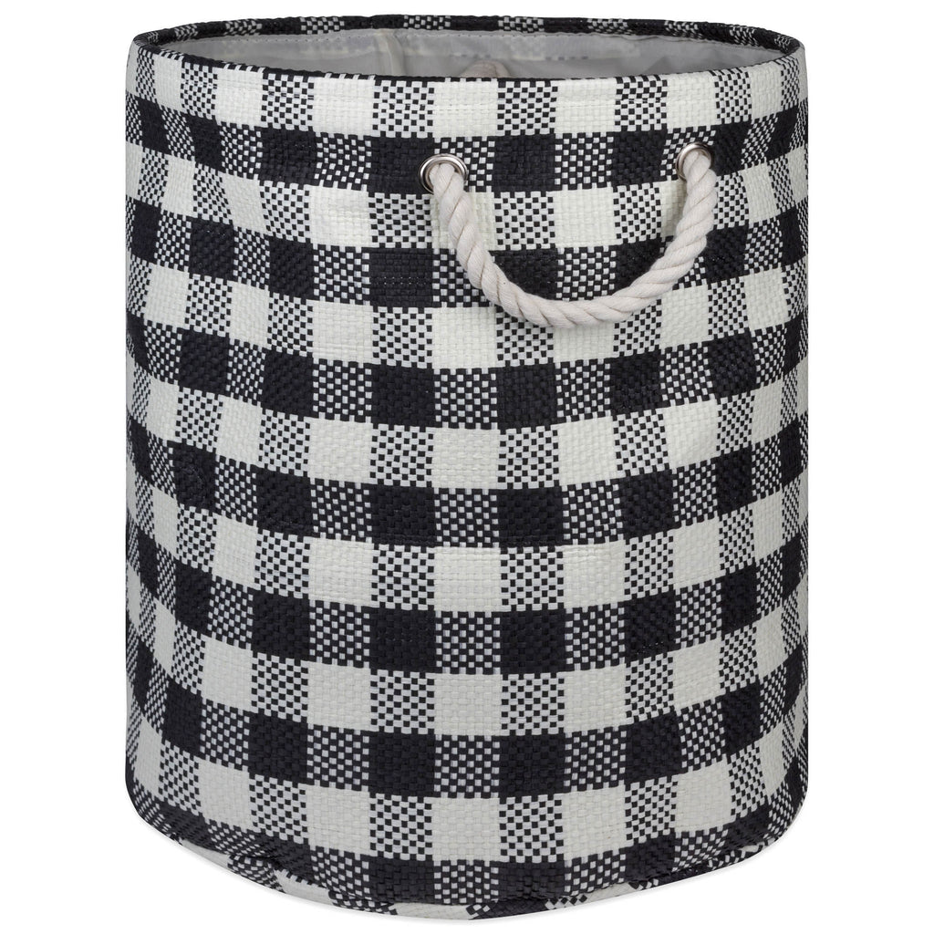 Paper Bin Checkers Black Round Medium 13.75x13.75x17