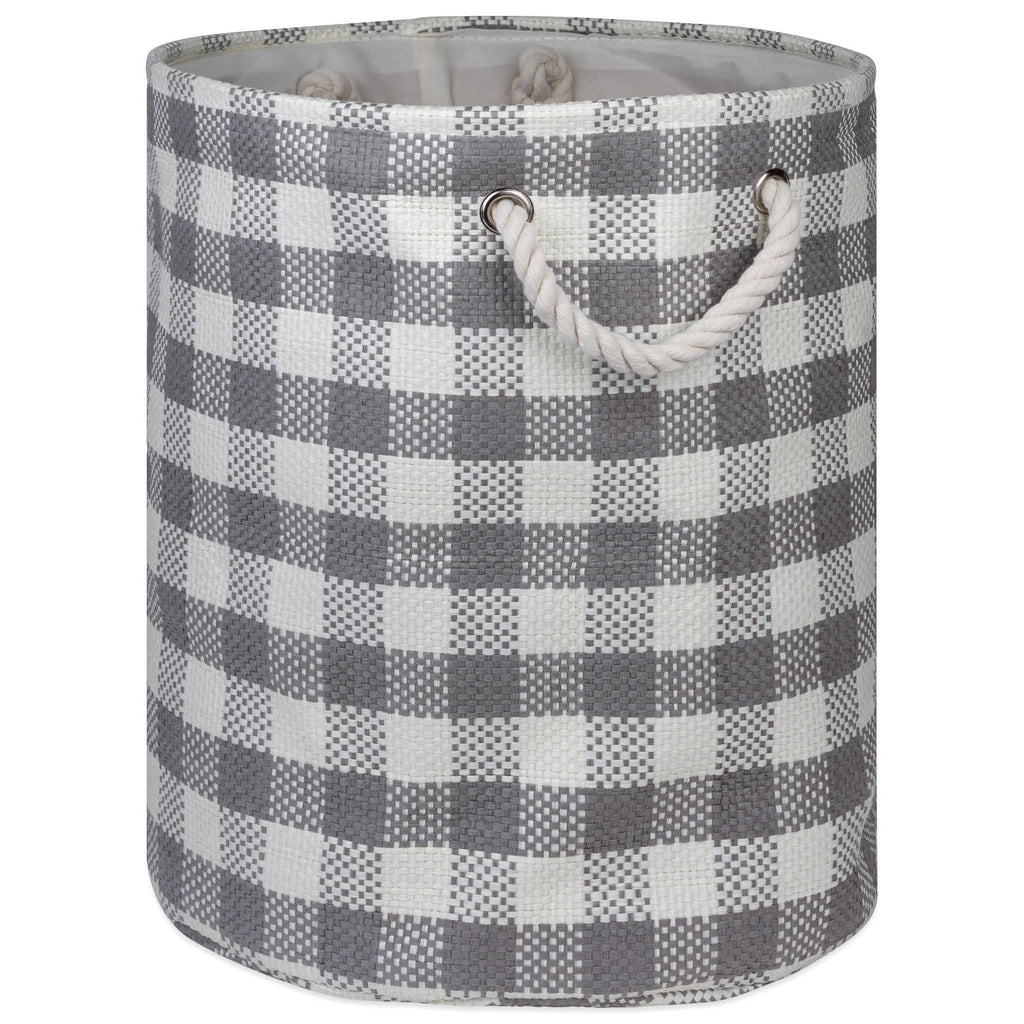 Paper Bin Checkers Gray Round Large 20x15x15